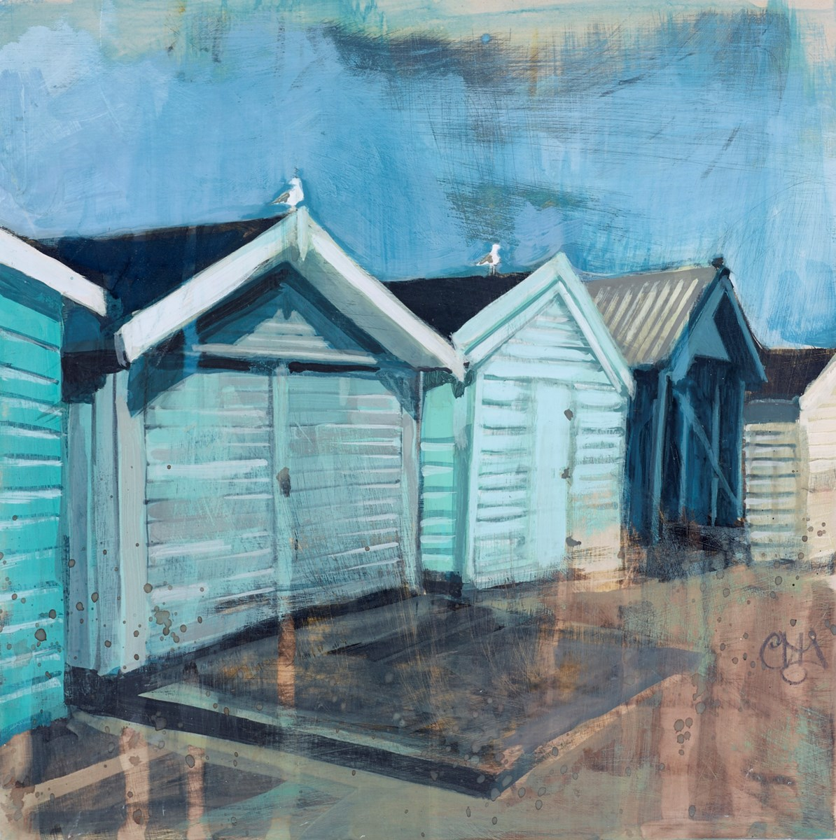 Five Huts and Two Gulls